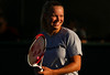 Caroline Wozniacki of Denmark laughs during a practice session in Indian Wells