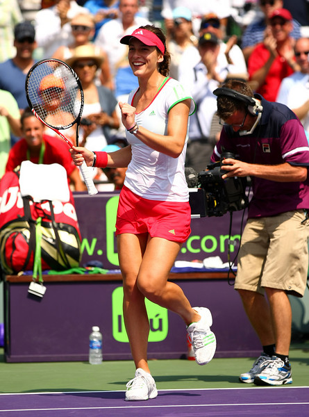 Andrea Petkovic of Germany celebrates following her defeat of Caroline Wozniacki of Denmark in Miami
