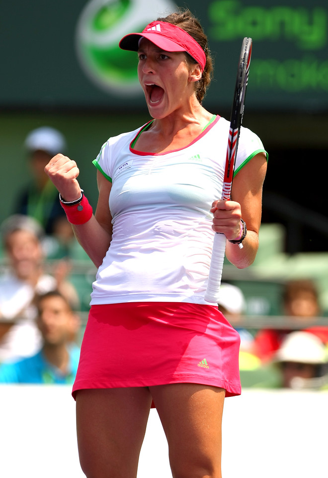 Andrea Petkovic of Germany celebrates during her defeat of Caroline Wozniacki of Denmark in Miami