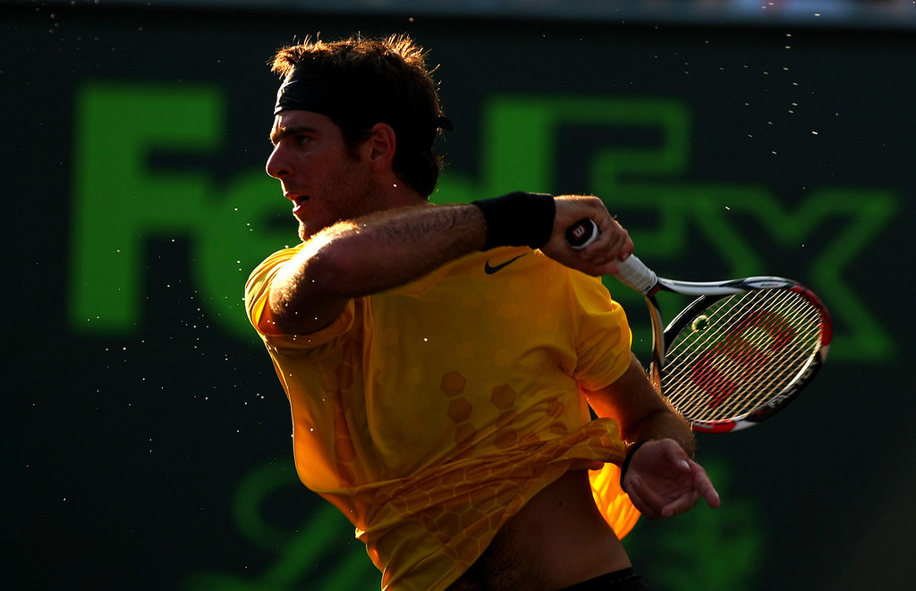 Juan Martin del Potro of Argentina in action during his defeat of Robin Soderling in Miami