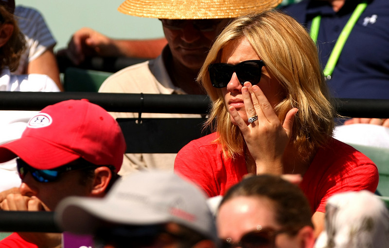 Brooklyn Decker, wife of Andy Roddick of USA, watches his in action during his defeat in Miami