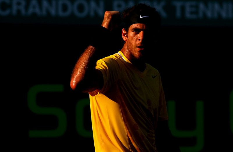 Juan Martin del Potro of Argentina celebrates during his defeat of Robin Soderling in Miami