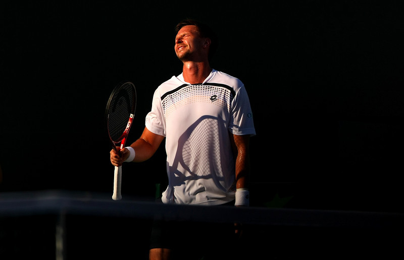 Robin Soderling of Sweden reacts in frustration during his defeat in Miami