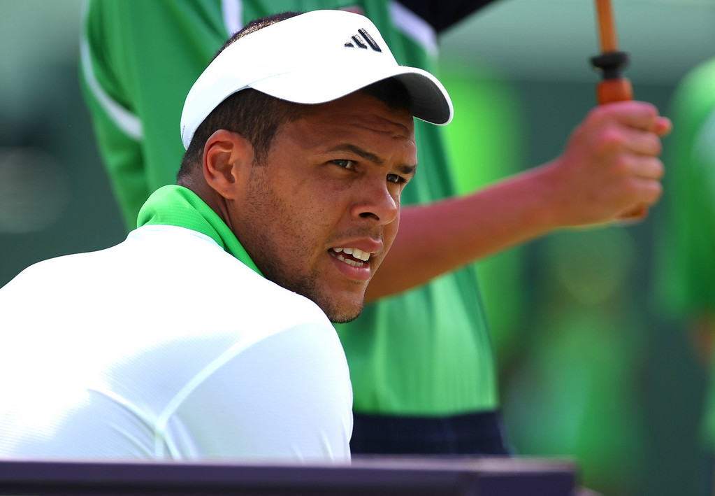 Jo-Wilfried Tsonga of France in action in Miami