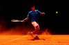 Novak Djokovic of Serbia in action at the Mutua Madrilena Madrid Masters Series