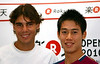 Rafael Nadal of Spain and Kei Nishikori