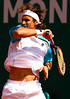 David Ferrer of Spain in action during the Final