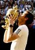 Andy Murray of Great Britain celebrates winning The Championships, Wimbledon, 2013