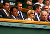 Rafael Nadal's parents sit with ITF President in the Royal Box