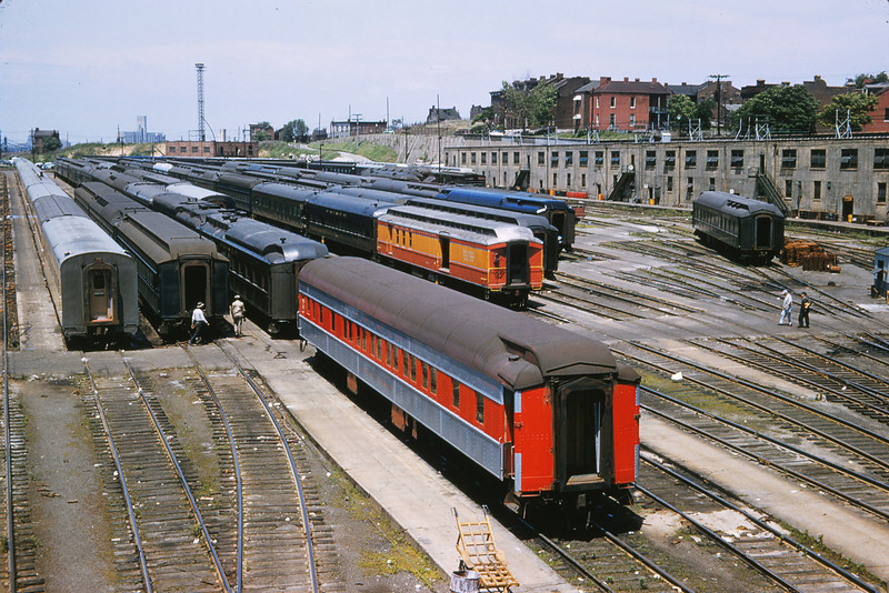 TRRA 51 - May 30 1957 - MK&T Coach & SLSW baggage car west of Jefferson Ave  Viaduct St Louis MO