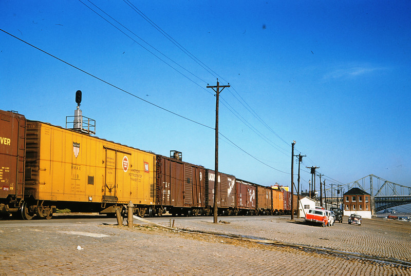 TRRA 63 - Dec 1 1957 - Freight Cars on St  Louis riverfront