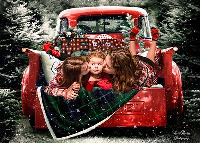 5x7 red truck kiss