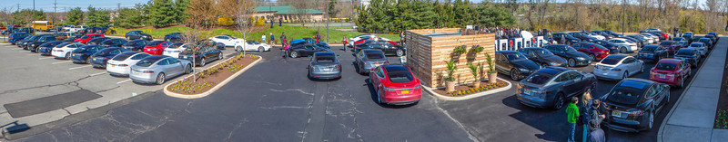Panoramic view of the 100th Tesla Supercharger Ribbon Cutting Ceremony