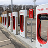 The Teslsa charging stations at The Mall at Whitney Field on Wednesday, March 13, 2019. SENTINEL & ENTERPISE/JOHN LOVE
