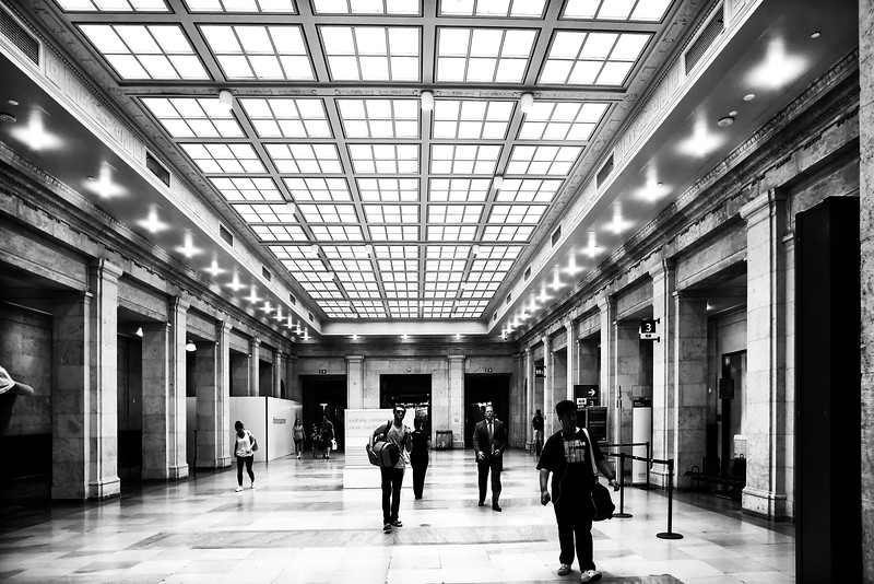 Passengers go about their communte at Union Station in downtown Toronto, Canada