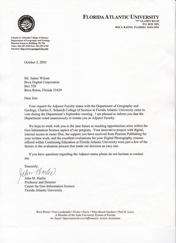 FAU Adjunct Faculty appointment 2003 Harlin Letter