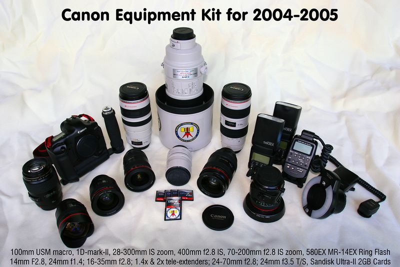 "Equipment package for 2004-2005. The image is captioned from left to right identifying each item. The enterprise is engaged in the production of sports event photography utilizing the best commercial grade digital equipment, (presently, Canon 5D + EOS-1DMk2N, eight million pixel digital cameras, coupled with a full complement of commercial Canon ""L"" lenses including the world famous 400mm f2.8 IS lens). We have been engaged by the NCAA, Atlantic Sun Conference, and major universities, including a valued relationship with Florida Atlantic University (FAU) capturing over 40,000 high quality publisher grade digital images annually. Thousands of Wilson's images have been published in print and electronic media with world-wide distribution."