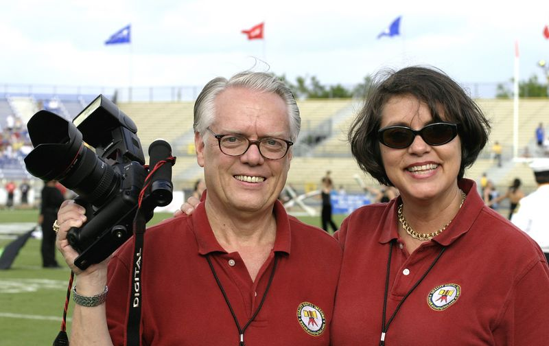 James Wilson with Canon digital equipment and Marilyn Wilson.  This image captured as a curtesy of Gus Botta, Fort Lauderdale, Florida at a 2004 NCAA sporting event.