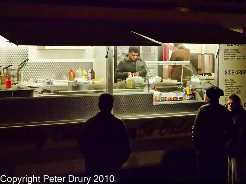 25 Nov 2010 - Kebab Bar, Hand-held ISO 3200 & 6400. Copyright Peter Drury 2010. Part of E5 Tests E5 + Zuiko Digital 12-60mm, Aperture Priority, ISO 6400, f7.1, 1/80s