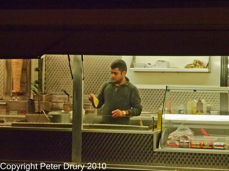 25 Nov 2010 - Kebab Bar, Hand-held ISO 3200 & 6400. Copyright Peter Drury 2010. Part of E5 Tests E5 + Zuiko Digital 12-60mm, Aperture Priority, ISO 3200, f7.1, 1/80s