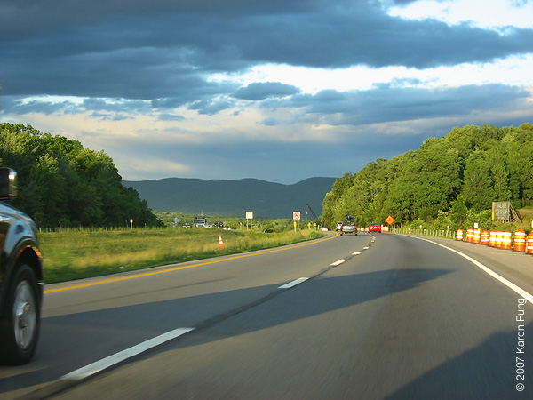 Interstate 84 heading East, with the waning sun behind us.