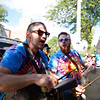 Brian DeAngelo and Sam Clement drum and sing to the beat of many drums, trumpets, Maracas and Kazoo's during the musical parade in Bennington.