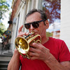 Kenn Ash of Bennington plays a jazzy tune with his trumpet.