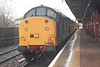 37604 <br /> <br /> sits in a very wet Warrington Bank Quay Plat 1 while driver changes ends