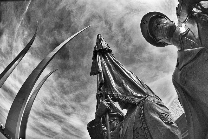 Fisheye view of Air Force Memorial in Arlington, Virginia – a black-and-white infrared image