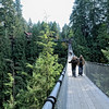 People on the Capilano Suspension Bridge in Vancouver, Canada - a color image