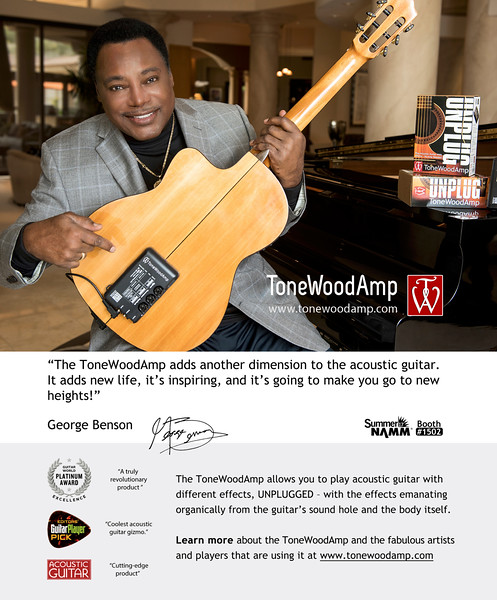 George Benson, ToneWoodAmp Ad for Guitar World August 2017 issue