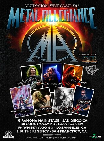 Metal Allegiance 2016 Destination West Coast Tour Poster