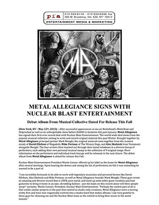 Official Press Release for the debut Metal Allegiance release. 2015