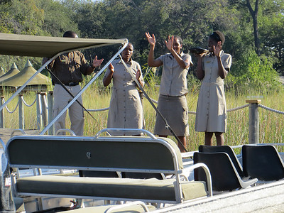 The welcoming committee at Little Vumbura in the Okavanga Delta!!