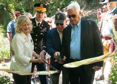 Dr. David Brown, president of the Class of 1970, along with Col. Wayne Green, U.S. Military Academy chief of staff; John Connors, vice president and first captain of the Class of 1970; and Dr. Betsey Blakeslee, president of the Friends of the American Revolution at West Point, cut the ribbon at a ceremony in Kosciuszko's Garden on Sunday, August 7. The ceremony recognized the first major initiative in the Class of 1970's preservation efforts of the fortification system from the American Revolution at West Point.Their initial $150,000 donation will reconnect Kosciuszko's Garden to the Revolutionary Supply Trail, and will also provide designation for Battery Knox.