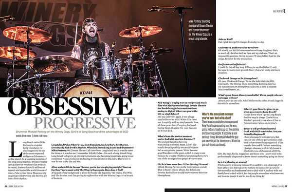 Mike Portnoy (Winery Dogs) Long Island Pulse article 2015