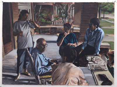 Porch with Family Group; acrylic on paper, 22 x 30 in, no date (circa 1993-94)