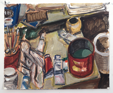 Studio still life; acrylic on paper, 2007