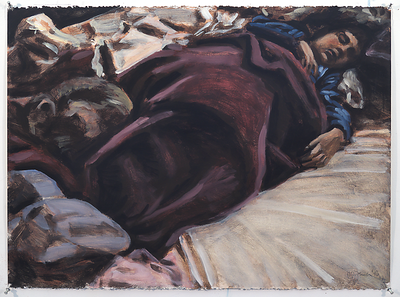 Sleeping Child; acrylic on paper, 22 x 30 in, 1990