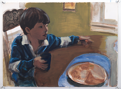 Child at Table, acrylic on paper, 22 x 30 in, 1994