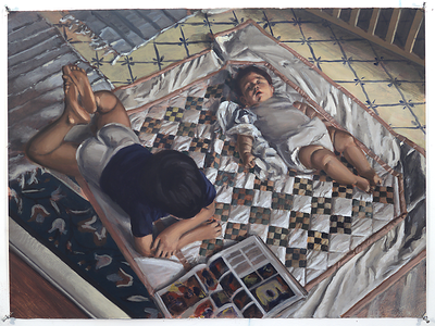 Children on Quilt; acrylic on paper, 22 x 30 in, 1993