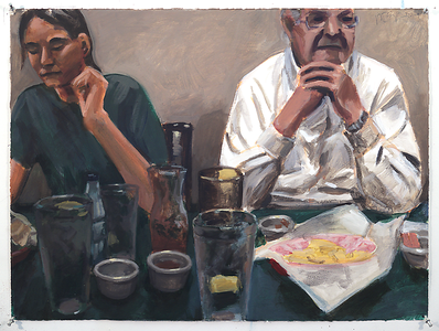 Untitled (restaurant); acrylic on paper, 22 x 30 in, 2009