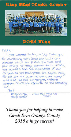 Thank You note from 2018 Camp Erin