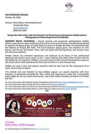Press Release from Esther Miller at Temple Bat Yahm