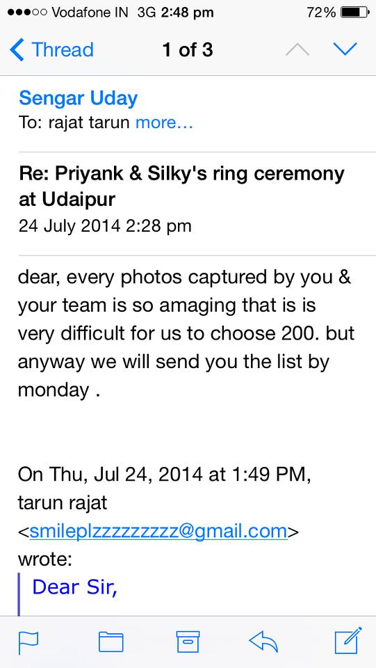 Appreciation received from Mr. Uday Sengar