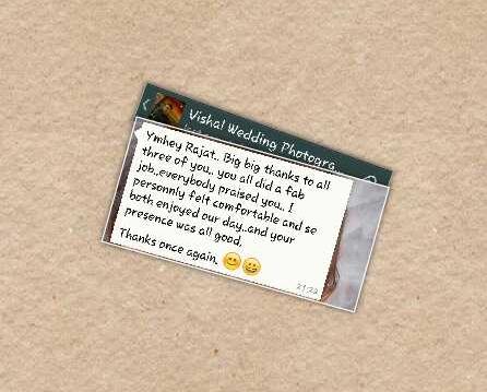 Appreciation from Vishal & Arpita - Delhi India
