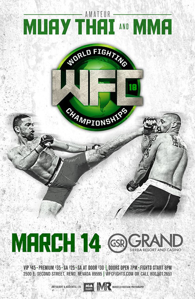Reno Photographer Marcello Rostagni captures MMA Sports Photography for WFC advertisement poster.