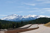 This is Pikes Peak as seen from Woodland Park.  The road is I-24, heading West.