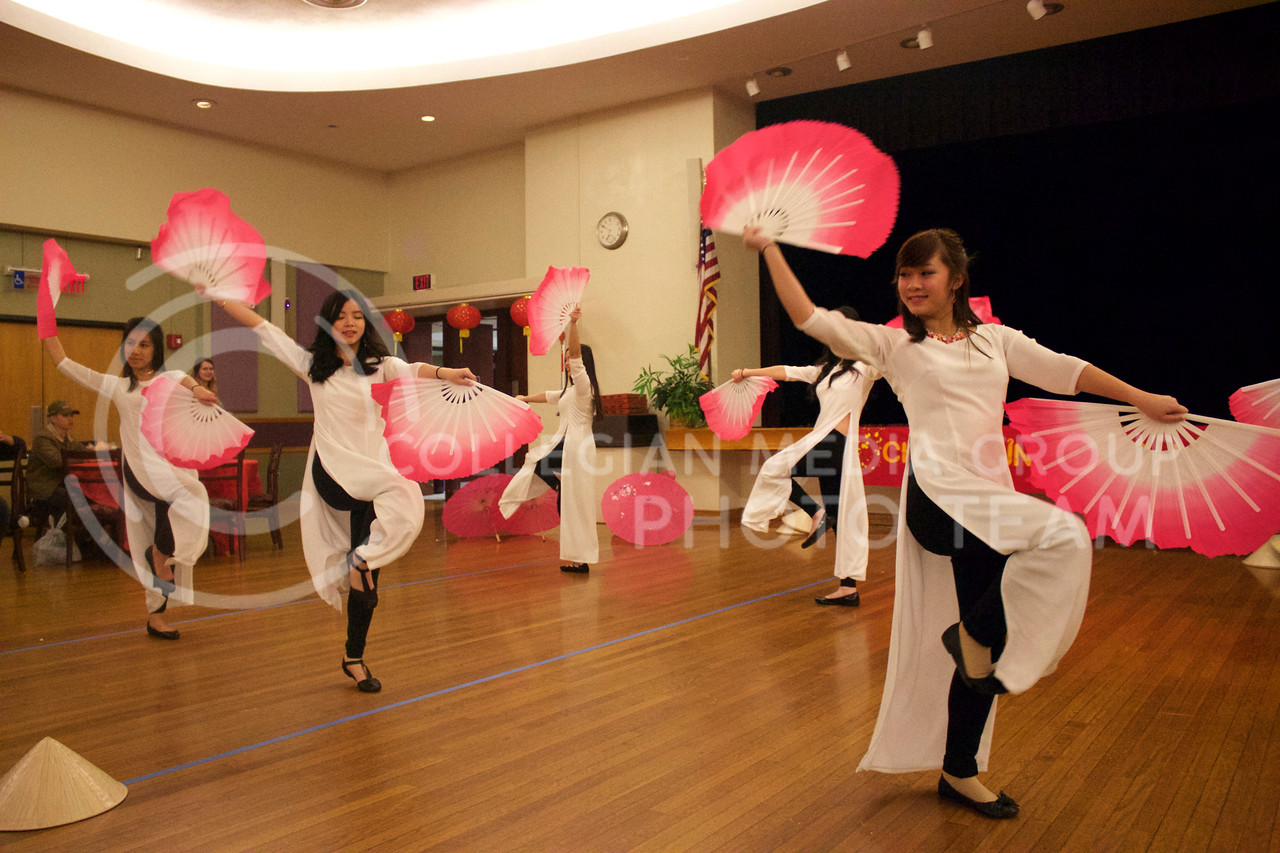 Witchita State VSA dance team shows the audience a traditonal dance using fans at the New Years festival at the student union on Feb. 04, 2017. (Kelly Pham | The Collegian)