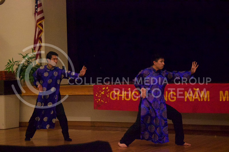 Sophomore in architechural engineering Khen Luong and junior in electrical engineering Jacobe Nguyen perform martial arts technique at the New Years festival at the student union on Feb. 04, 2017. (Kelly Pham | The Collegian)